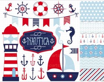 Clipart Combo - Nautica (BOY) / Nautical / Marine / anchors, nautical flag banner, sailor's knot, sea clipart, sailing, vector clipart