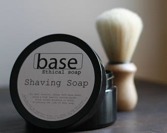 Shaving soap | father's day | handmade | pot - set | earthy mint | dual lye saponified | luxurious lather