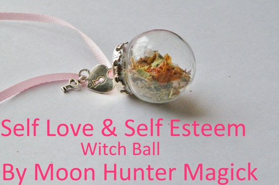 Self Love Self Esteem Confidence Charm Amulet Mini Witch Ball Witch Bottle Pagan Wicca Reiki