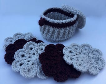 Crocheted Coasters and Coaster Case