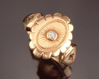 Vintage Gold Ring, Diamond Ring d1964 with Sun Ray and Trefoil