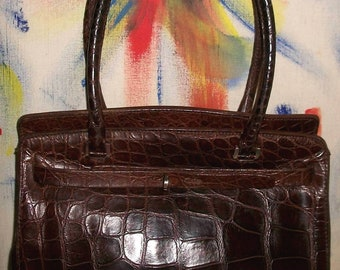 Vtg Dooney & Bourke Rare Maura Governa Italy Brown Leather Birkin Style Handbag