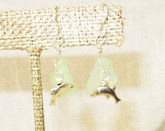 Light Green Sea Glass with Swimming Dolphin