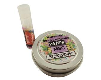 Save! Perfume Tin + Vial Combo //vegan, made in Canada// perfume sample vial , solid perfume tin