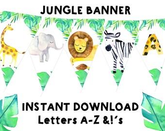 JUNGLE BANNER Jungle birthday banner Jungle baby shower banner Elephant Lion Giraffe Zebra Banner - Printable Safari Banner Wild animal