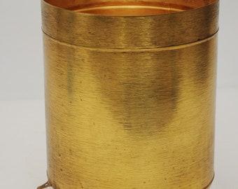 Check it out Vtg Hollywood Regency Gold Waste Basket Trash Bin-Gold Brass Footed Trash Can