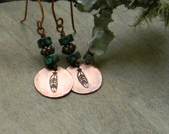 Turquoise earrings copper feather earrings hand stamped distressed copper earrings bohemian jewelry free spirit gypsy  boho beaded jewelry