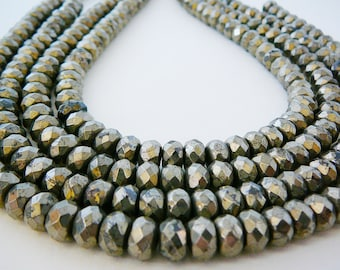 Pyrite Faceted Bead, Gemstone 8mm Rondel 20 Spacer Beads 4 inch mini strand jewelry supplies