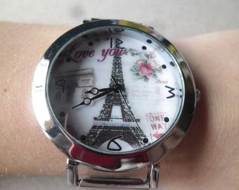 x 1 quartz watch vintage Eiffel Tower silver plated 23, 5 cm (battery included)