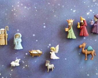 Nativity Set Silicone Mold Cake Tool Fondant Chocolate Candy Cupcake Topper Decorations Polymer Clay Craft Baby Jesus Angel 3 Kings