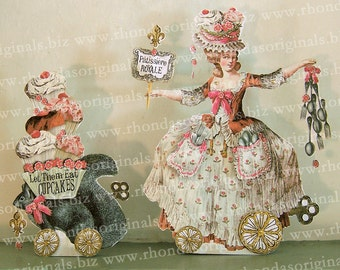 Digital Paper Doll Party Decoration - INSTANT Download - Marie Antoinette French Cupcake Pastry Chef - Paper Crafts MA2D