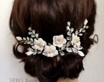 Bridal Head Piece, Ivory Bridal Hair Adornment Large Wedding Hair Combs Rhinestone Gold Bridal Hair Piece Ivory Wedding Hair Vines T121201