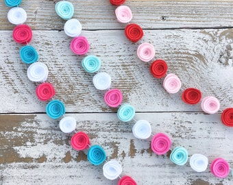 Mini Felt Rosette Garland. (Sold by the foot: 4/FT) **Read description for ordering instructions**