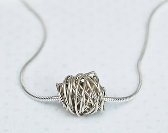 Sterling Silver 'Entwined' Wire Wrapped Necklace