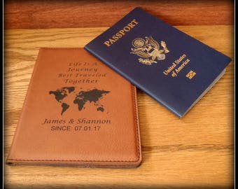 Travel documents etsy world map passport cover faux leather personalized passport holder custom travel case holder gumiabroncs Image collections