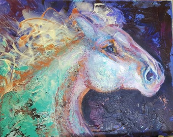 Abstract Horse Painting, abstract horse art, abstract painting, unicorn, colorful horse, equine art, large abstract horse, horse wall art