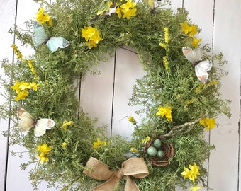 Spring Wreaths for Front Door-Spring Wreath with Bird Nest Bird-Spring Wreath for Door-Farmhouse Spring Wreath-Spring Door Wreath