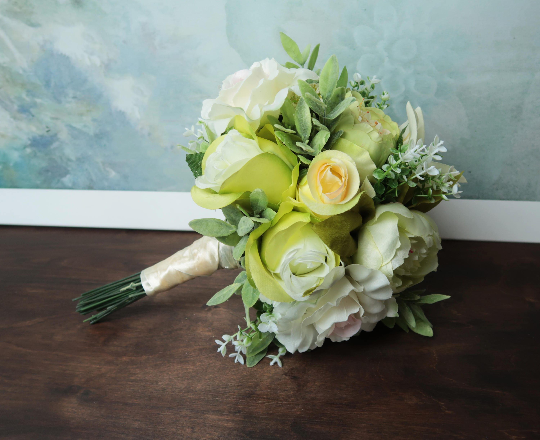 Green boho wedding bouquet silk flowers peonies roses lily greenery ...