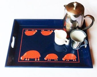 Serving Tray, Hand Decorated with Hippos, bic blue with red line, FREE Shipping