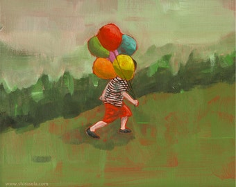 Getting There - original acrylic painting of a boy with balloons grass green landscape boy room nursery
