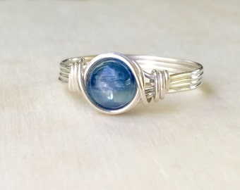 Blue Kyanite ring, Silver wire wrapped kyanite ring, Kyanite wire wrapped ring, Gemstone Ring
