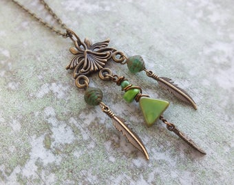 Boho Necklace, Green necklace, Feather necklace, Gypsy Necklace, Ethnic, Metal, Bronze festival jewellry