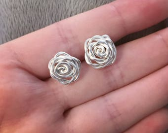 Wire Wrapped Rose Flower Necklace or Earrings - Wire Worked Dainty and Cute - Valentines Day Gift Idea for Her - Forever Flower Roses