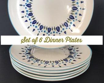 Vintage Swiss Alpine Dinner Plates, Mar-Crest Stetson, Swiss Chalet, Alpine,  60's Retro Kitchen, Vintage Kitchen Set of 6 Dinner Plates Set