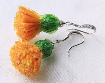 Glass lampwork dandelion earrings. Big size version.