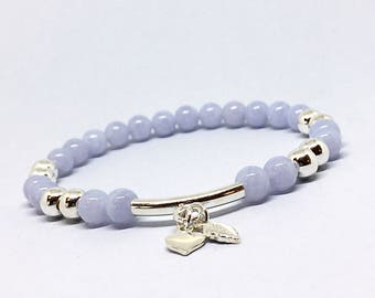 Blue Lace Agate Bracelet Blue Agate Something Blue Bridal Tradition Stone Bracelet Bead Bracelet Sterling Silver Tiny Heart Charm Bracelet