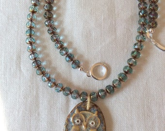 owl ceramic pendant beaded necklace in natural shades
