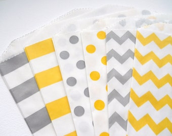 YELLOW & GREY - QTY 12 - Treat Bag - Baked Goods Bag - 5x7 - Favor Bag - Yellow and gray party - Wedding favor bags - Baby shower