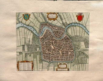 Ancient Maps - Harleem/Netherland - Cm. 82 x 62 Inches 32,3 x 24,5 - rinted on high quality paper and water-coloured by hand. Since 1940s