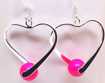 Silver heart earrings with neon pink Swarovski pearls. Perfect gift for her.
