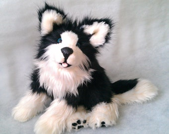 Sold Una the malamute Pup poseable art doll (AVAILABLE made to order)