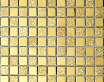 "Gold / Silver Porcelain Tiles Bathroom Wall Backsplash Glazed Ceramic Small Tile Mosaic (6 PCS, 12""x12"" /each)"