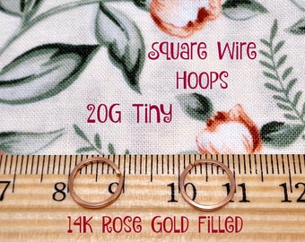 Tiny 20g Rose Gold Filled Square Wire Hoops