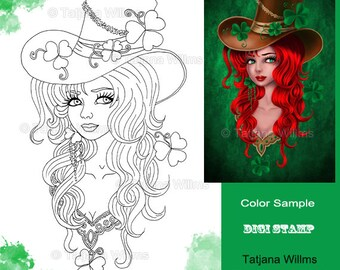 Lucky Fellow - Fantasy Adult Coloring Sheet Girl with Cap, lucky clover - Line Art for Cards & Crafts. Instant Download!