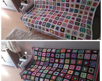 Granny Square Blanket, crochet... crocheted Granny Square Blanket