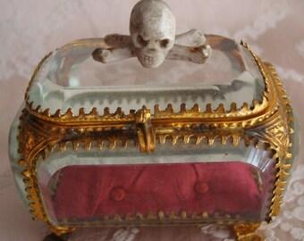 Antique Memento Mori Vanitas 19th Century Carved Skull & Crossbones in Beveled Glass and Ormolu Coffin Box  Cabinet of Curiosites