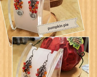 Pumpkin Spice and Pumpkin Pie 2 different gunmetal finish Swarovski Crystal cascade earrings featuring hand stamped charms perfect for fall