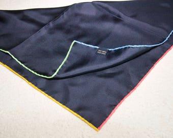 Hand Rolled Contrast Hem Navy Silk Pocket Square