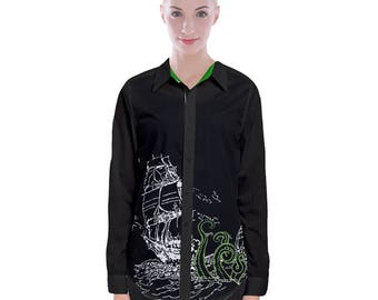 Sea Monster Long Sleeve Button Up