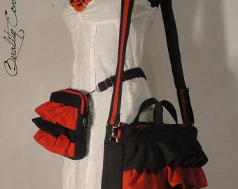 13'' Ready-to-ship Laptop Ruffles Bag with FREE Detachable WALLET-Valentines Day Gift-Messenger Bag - Shoulder Bag-Fully padded-large Pocket