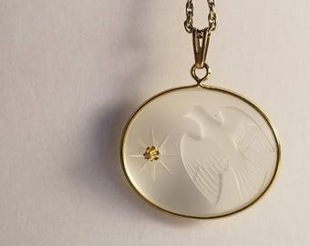 Vintage Peace Dove Diamond Pendant Necklace