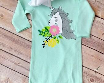 Unicorn Magic Baby Gown - Mint