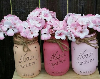 Painted Mason Jars, Vintage Decor, Baby Shower Table Centerpieces, Baby Shower Table Centerpiece,  Wedding Centerpieces, Mothers Day Gift