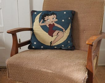 Vintage Needlepoint Throw Pillow Swirly Design with Wine Red Velvet Backing