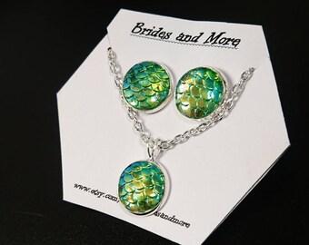 Mermaid Earring and Necklace Set Mermaid Jewelry Set Mermaid Scale Jewelry Gift Green Jewelry Set Mermaid Gift Girlfriend Gift Green Jewelry
