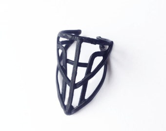 Cage Ring - Bronze - Fitted Point Design -  Blackened - Adjustable fit sz 5 - 7 - handmade in Austin, Tx